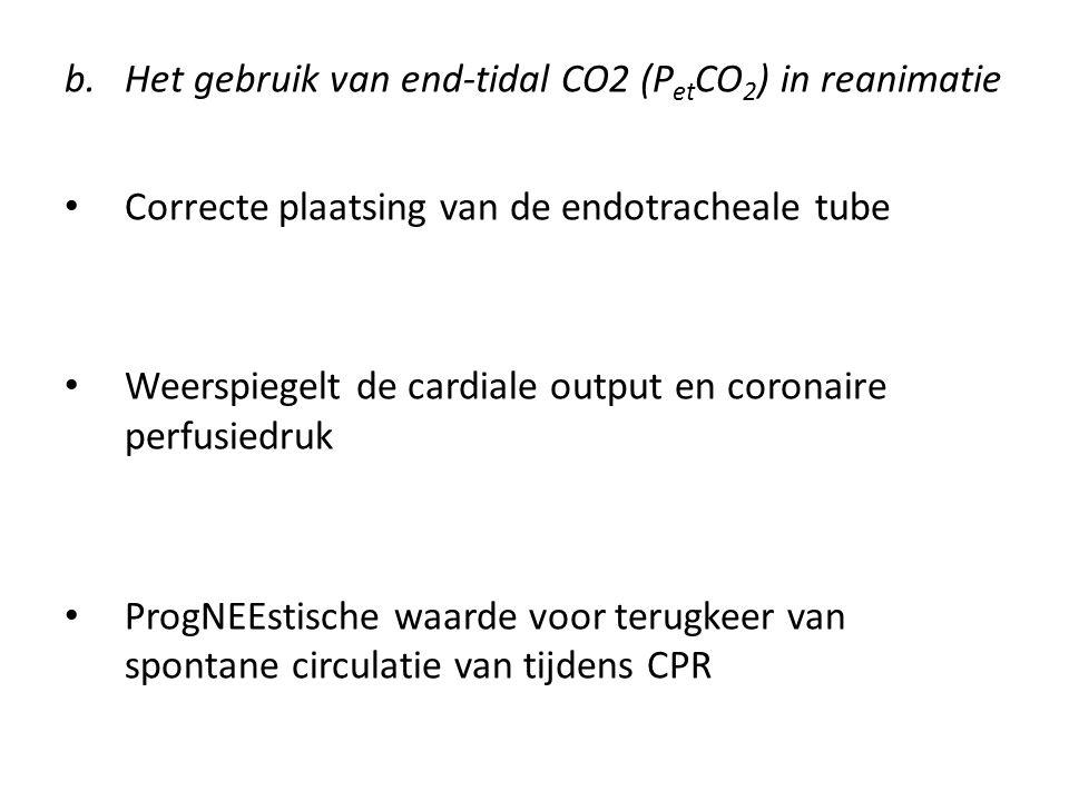 b.Het gebruik van end-tidal CO2 (P et CO 2 ) in reanimatie Correcte plaatsing van de endotracheale tube Weerspiegelt de cardiale output en coronaire p