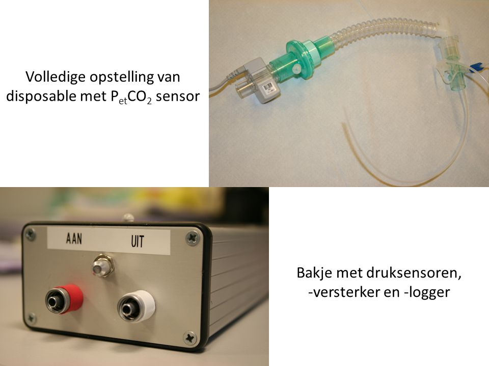 Bakje met druksensoren, -versterker en -logger Volledige opstelling van disposable met P et CO 2 sensor