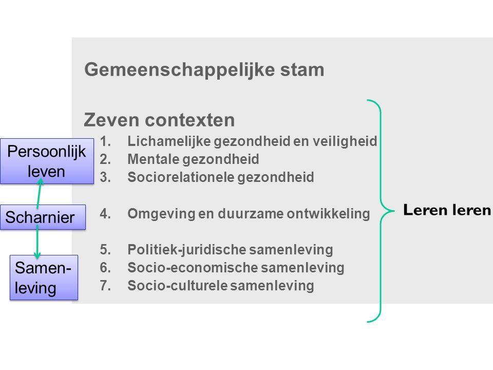 Gemeenschappelijke stam Zeven contexten 1.Lichamelijke gezondheid en veiligheid 2.Mentale gezondheid 3.Sociorelationele gezondheid 4.Omgeving en duurz