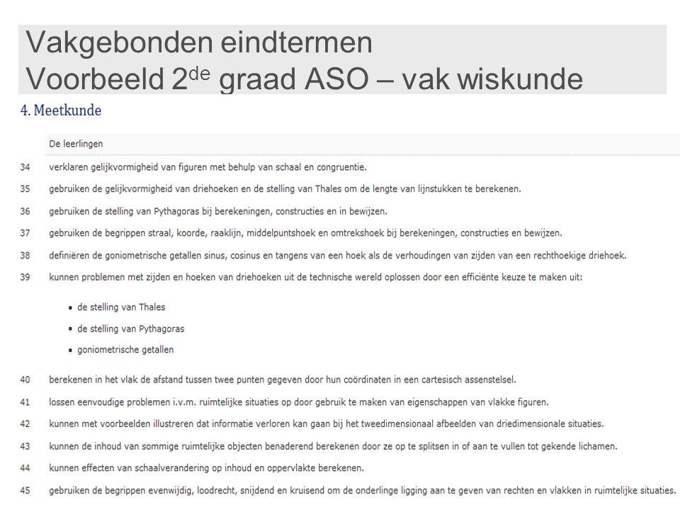 Vakgebonden eindtermen Voorbeeld 2 de graad ASO – vak wiskunde