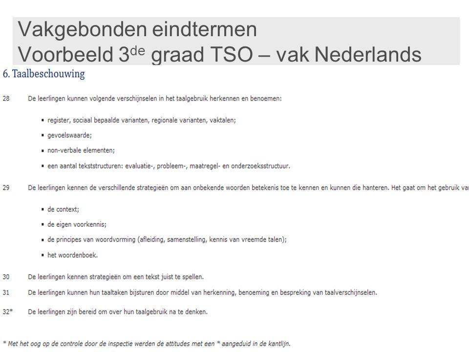 Vakgebonden eindtermen Voorbeeld 3 de graad TSO – vak Nederlands