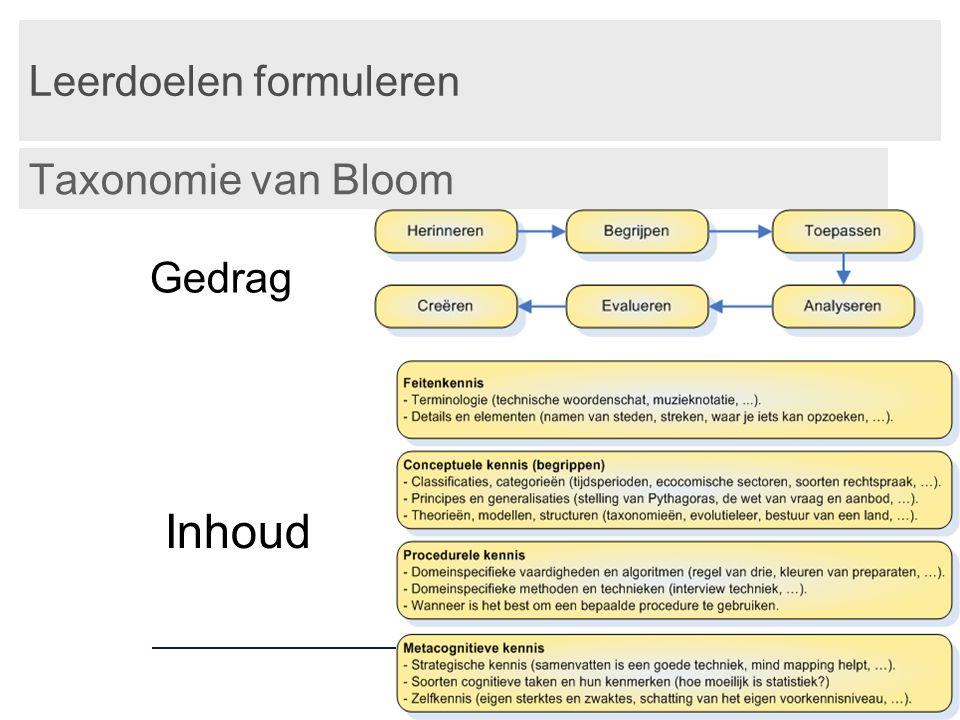 Leerdoelen formuleren Taxonomie van Bloom Gedrag Inhoud