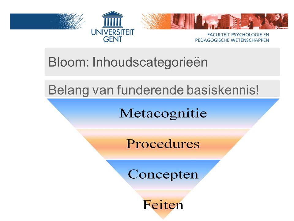 Bloom: Inhoudscategorieën Belang van funderende basiskennis!