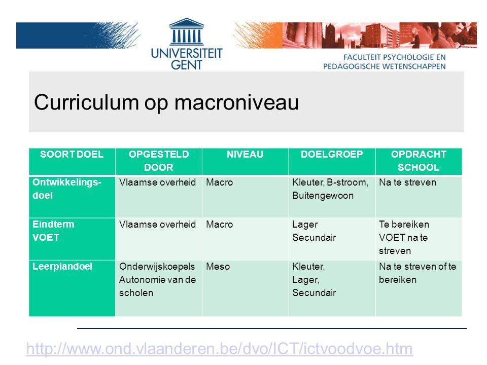 Curriculum op macroniveau http://www.ond.vlaanderen.be/dvo/ICT/ictvoodvoe.htm SOORT DOEL OPGESTELD DOOR NIVEAUDOELGROEP OPDRACHT SCHOOL Ontwikkelings-