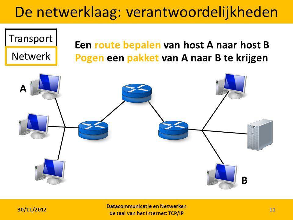 30/11/2012 Datacommunicatie en Netwerken de taal van het internet: TCP/IP 11 De netwerklaag: verantwoordelijkheden Transport Netwerk A B Een route bepalen van host A naar host B Pogen een pakket van A naar B te krijgen