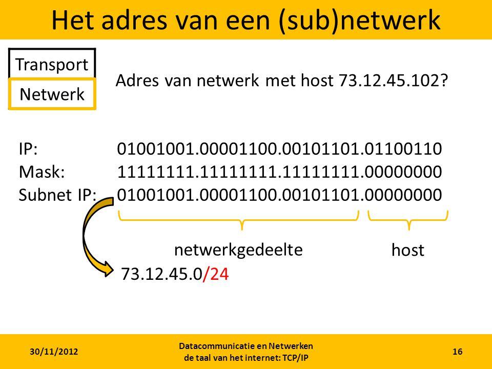 30/11/2012 Datacommunicatie en Netwerken de taal van het internet: TCP/IP 16 Het adres van een (sub)netwerk Transport Netwerk Adres van netwerk met host 73.12.45.102.