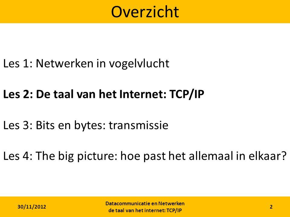 30/11/2012 Datacommunicatie en Netwerken de taal van het internet: TCP/IP 2 Overzicht Les 1: Netwerken in vogelvlucht Les 2: De taal van het Internet: TCP/IP Les 3: Bits en bytes: transmissie Les 4: The big picture: hoe past het allemaal in elkaar