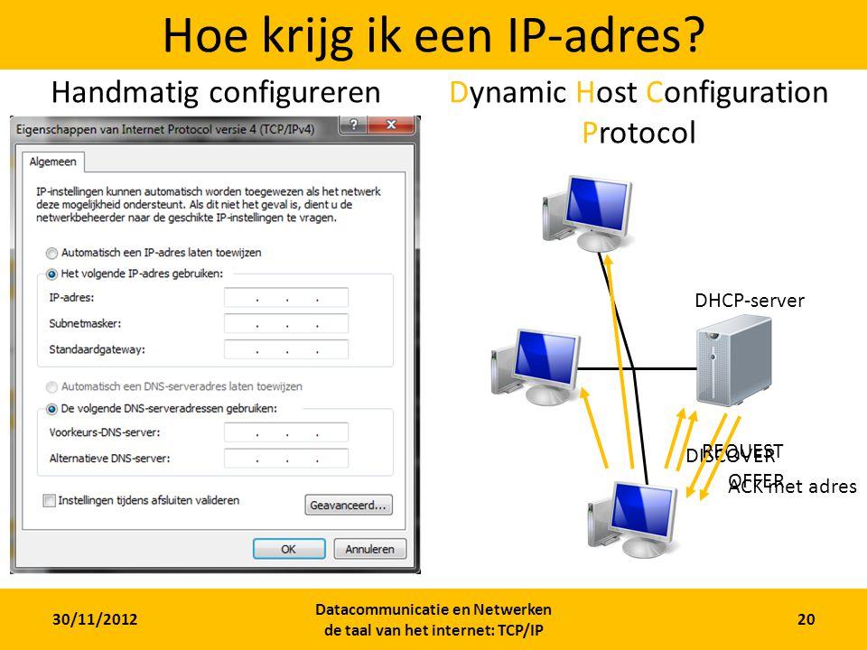 30/11/2012 Datacommunicatie en Netwerken de taal van het internet: TCP/IP 20 Hoe krijg ik een IP-adres.