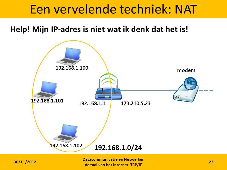 30/11/2012 Datacommunicatie en Netwerken de taal van het internet: TCP/IP 22 Een vervelende techniek: NAT modem Help.