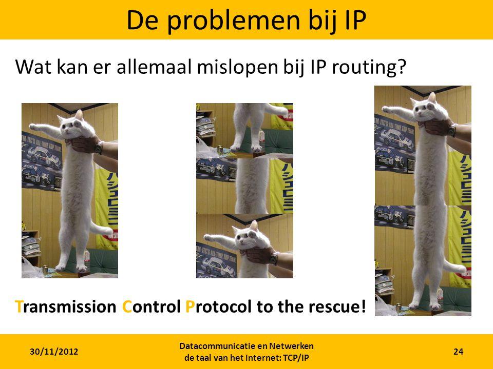 30/11/2012 Datacommunicatie en Netwerken de taal van het internet: TCP/IP 24 De problemen bij IP Wat kan er allemaal mislopen bij IP routing.