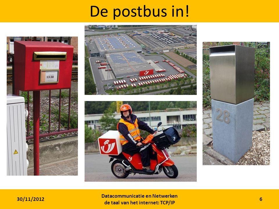 30/11/2012 Datacommunicatie en Netwerken de taal van het internet: TCP/IP 6 De postbus in!