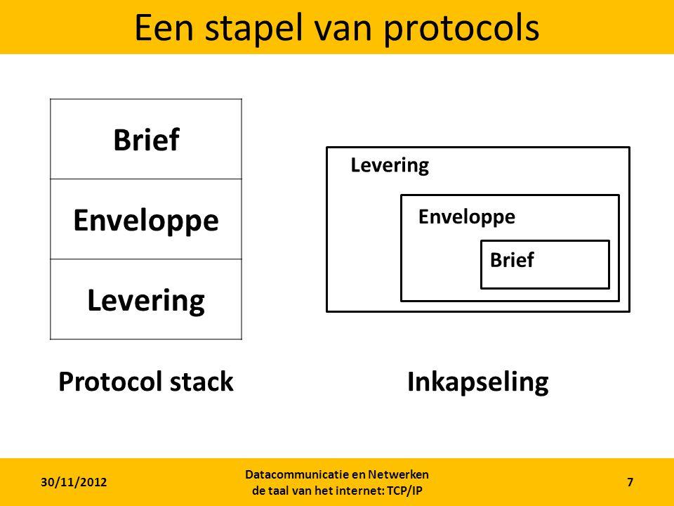 30/11/2012 Datacommunicatie en Netwerken de taal van het internet: TCP/IP 7 Een stapel van protocols Brief Enveloppe Levering Brief Enveloppe Levering Protocol stackInkapseling