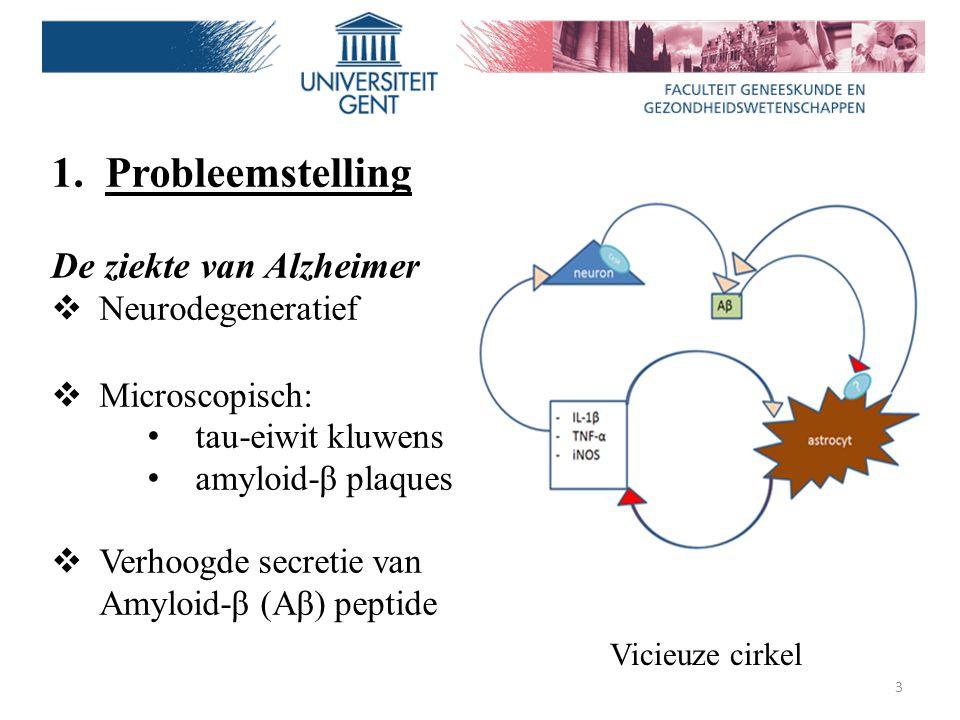 3 1.Probleemstelling De ziekte van Alzheimer  Neurodegeneratief  Microscopisch: tau-eiwit kluwens amyloid-β plaques  Verhoogde secretie van Amyloid