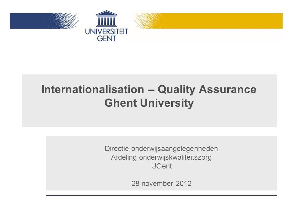 Internationalisation – Quality Assurance Ghent University Directie onderwijsaangelegenheden Afdeling onderwijskwaliteitszorg UGent 28 november 2012
