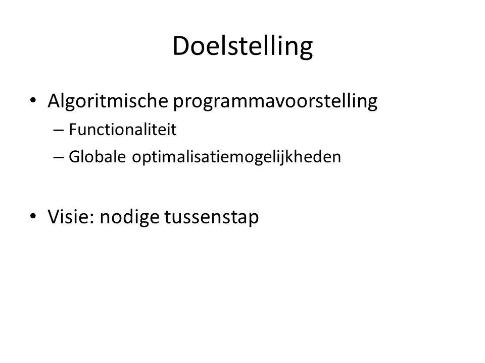 Doelstelling Algoritmische programmavoorstelling – Functionaliteit – Globale optimalisatiemogelijkheden Visie: nodige tussenstap