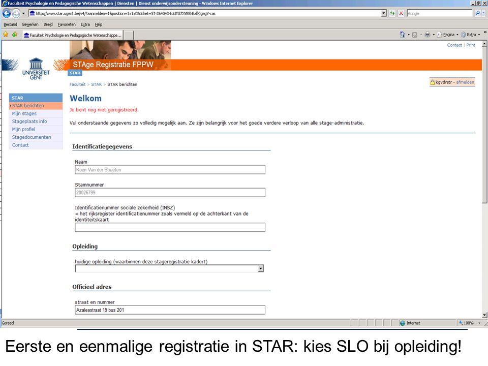 Eerste en eenmalige registratie in STAR: kies SLO bij opleiding!