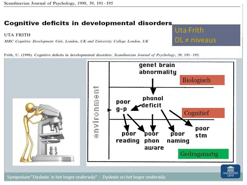 Biologisch Cognitief Gedragsmatig Uta Frith DL ≠ niveaus Symposium Dyslexie in het hoger onderwijs - Dyslexie en het hoger onderwijs
