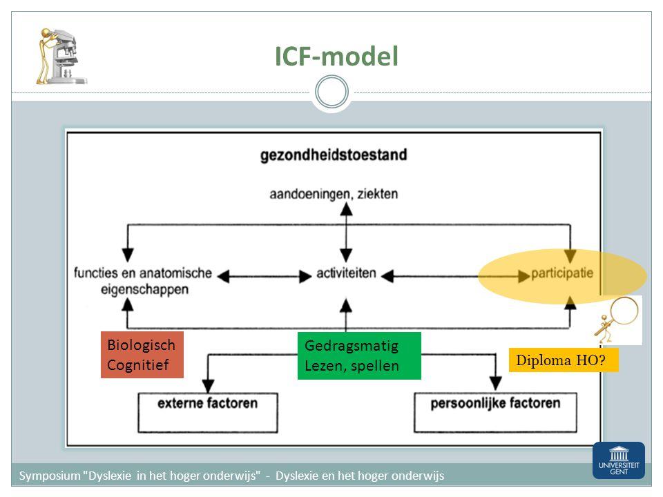 ICF-model Biologisch Cognitief Gedragsmatig Lezen, spellen Diploma HO?