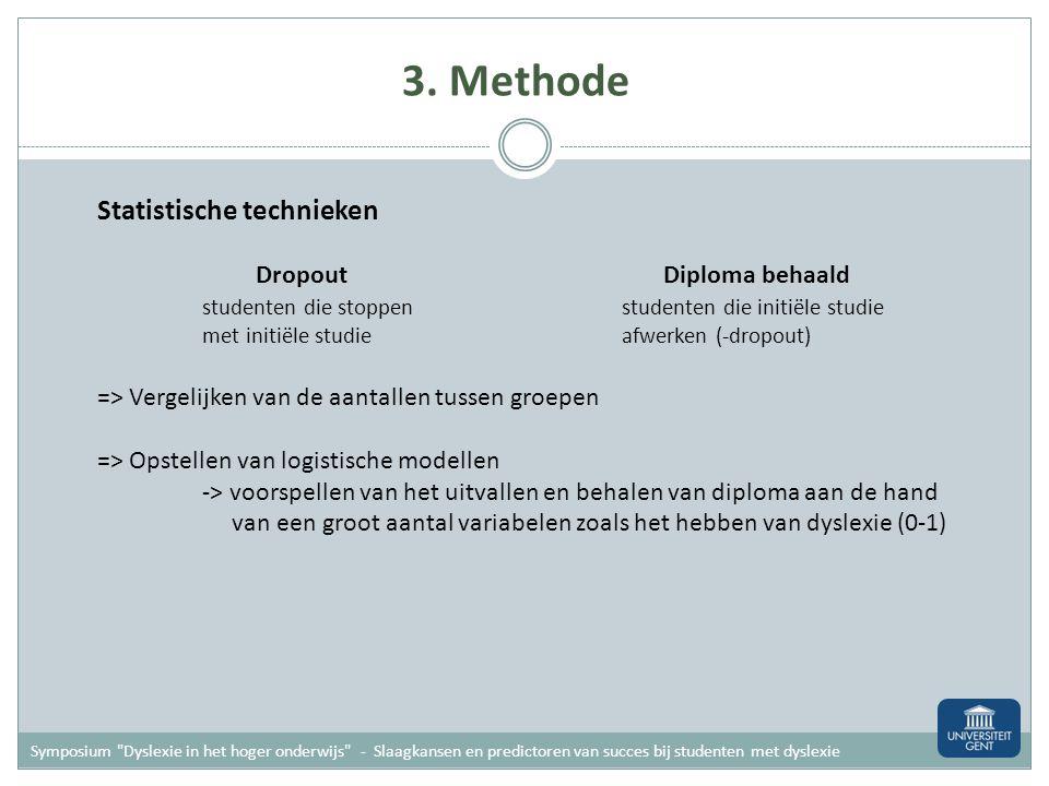 3. Methode Participanten - enkel generatiestudenten: dyslexiegroep (N=99) en controlegroep (N= 89) - data verzameld na drie jaar HO (studie gestart in