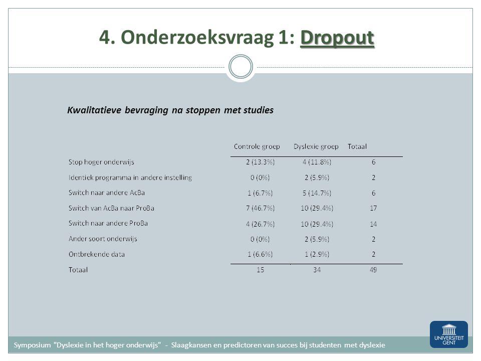 Dropout 4. Onderzoeksvraag 1: Dropout Vergelijken van aantallen Gedurende bachelor programma stoppen meer studenten met dyslexie met eerste studies (3
