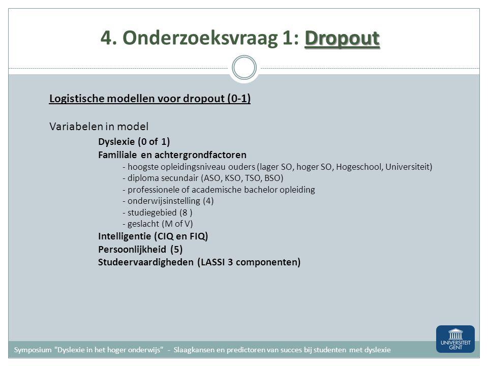 Dropout 4. Onderzoeksvraag 1: Dropout Kwalitatieve bevraging na stoppen met studies Symposium