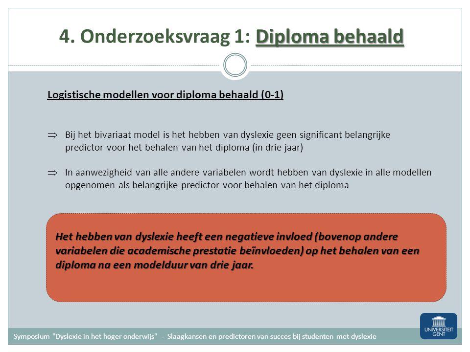 Diploma behaald 4. Onderzoeksvraag 1: Diploma behaald Logistische modellen voor diploma behaald (0-1) Variabelen in model Dyslexie (0 of 1) Familiale