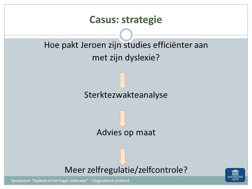 Casus: strategie Heeft Jeroen dyslexie? Ja/Nee Attest/Geen attest Maatregelen/geen maatregelen Symposium