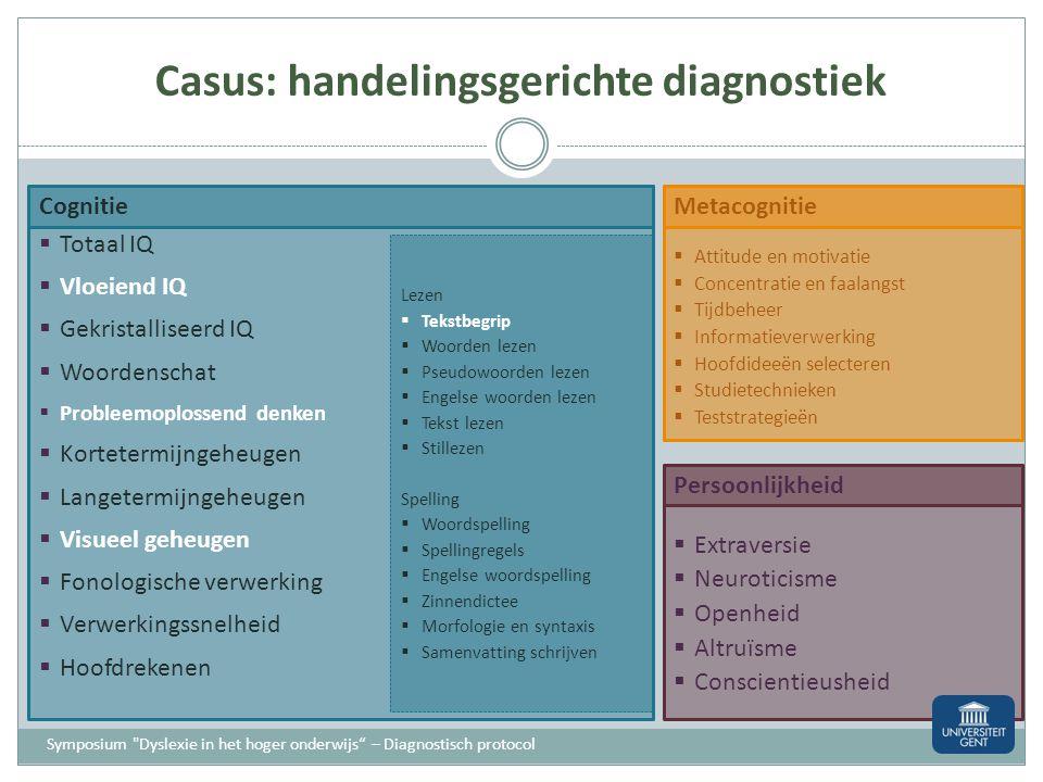Casus: verklarende diagnose Geheugenproblemen? Auditief kortetermijngeheugen Bv. KAIT Visueel kortetermijngeheugen Bv. KAIT Werkgeheugen Bv. WAIS – TT
