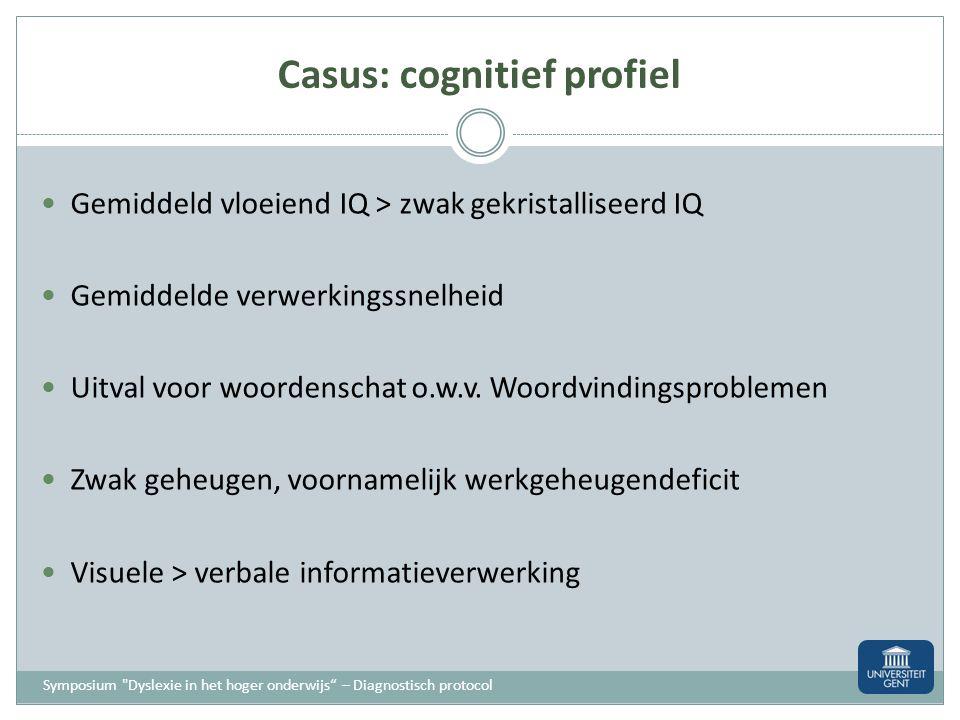 Casus: cognitief profiel Symposium
