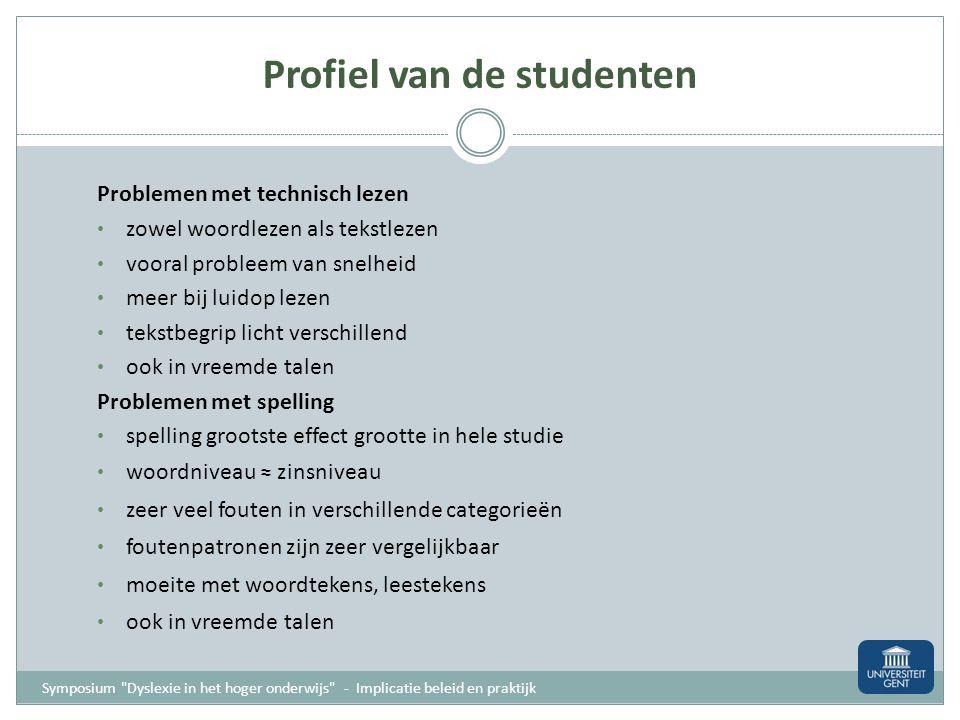 Profiel van de student als uitgangspunt Symposium
