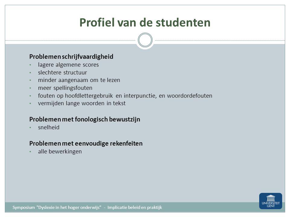Profiel van de studenten Problemen met technisch lezen zowel woordlezen als tekstlezen vooral probleem van snelheid meer bij luidop lezen tekstbegrip
