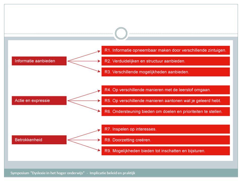 Universal Design for learning 3 UDL-principes: informatie op verschillende manieren aanbieden cf.Herkenningsnetwerk studenten kunnen op verschillende