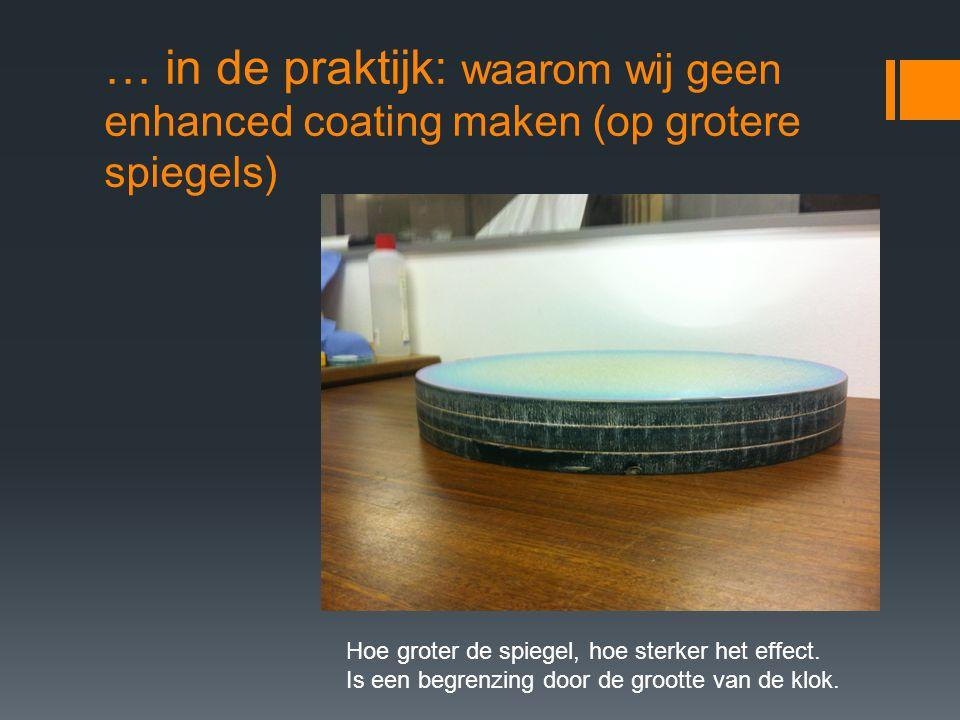 … in de praktijk: waarom wij geen enhanced coating maken (op grotere spiegels) Hoe groter de spiegel, hoe sterker het effect.