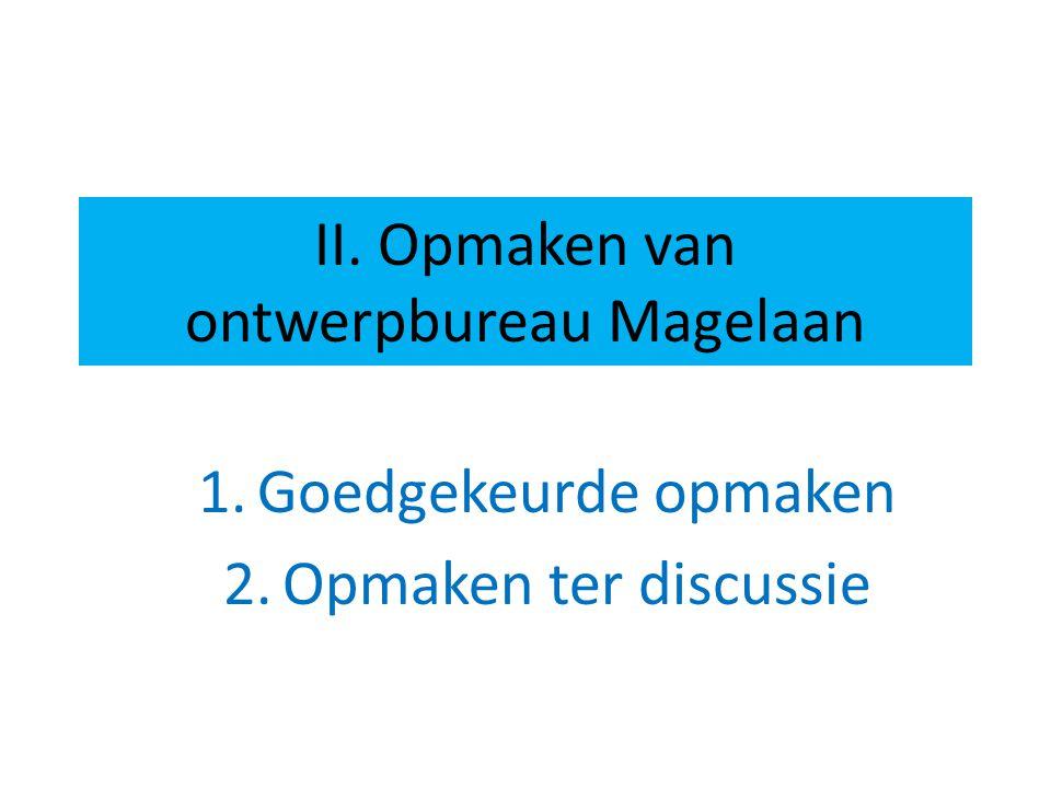 II. Opmaken van ontwerpbureau Magelaan 1.Goedgekeurde opmaken 2.Opmaken ter discussie