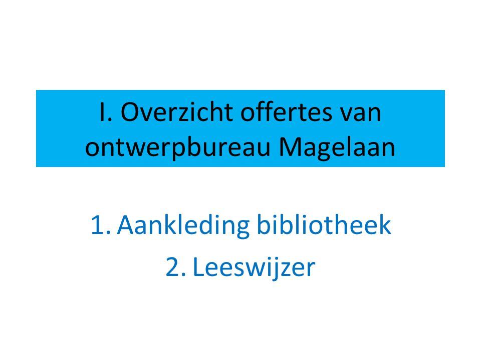 I. Overzicht offertes van ontwerpbureau Magelaan 1.Aankleding bibliotheek 2.Leeswijzer