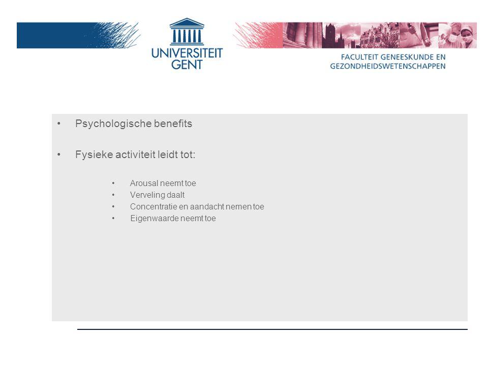 Psychologische benefits Fysieke activiteit leidt tot: Arousal neemt toe Verveling daalt Concentratie en aandacht nemen toe Eigenwaarde neemt toe