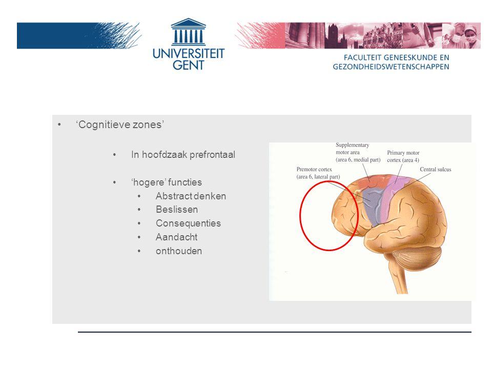 Vaak zelfde anatomische substraat voor motoriek en cognitie Hogere functies (prefrontaal) in dienst van motoriek Plannen, beslissen, evalueren Cognitief begeleiden van bewegingsuitvoering Cerebellum connecties met prefrontale cortex, bv.