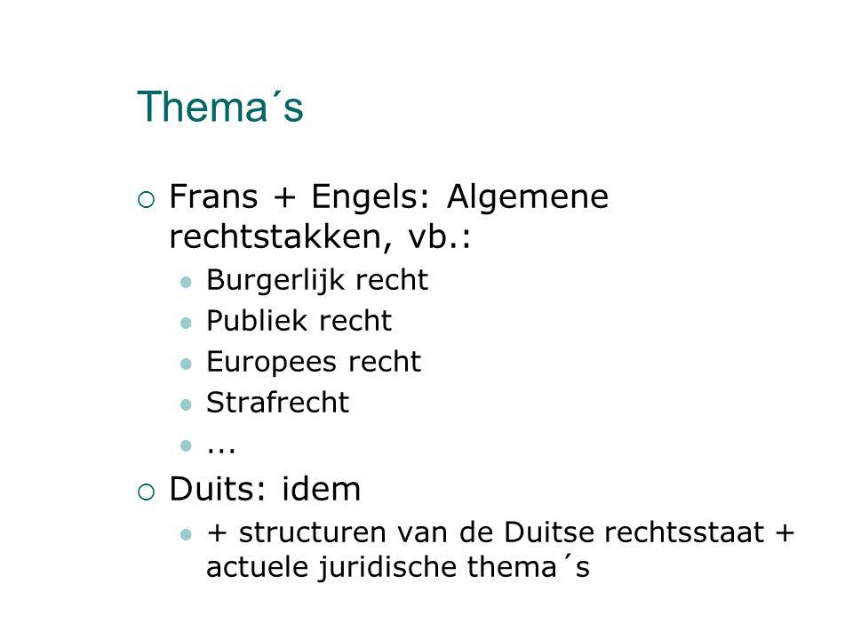 Thema´s  Frans + Engels: Algemene rechtstakken, vb.: Burgerlijk recht Publiek recht Europees recht Strafrecht...  Duits: idem + structuren van de Du