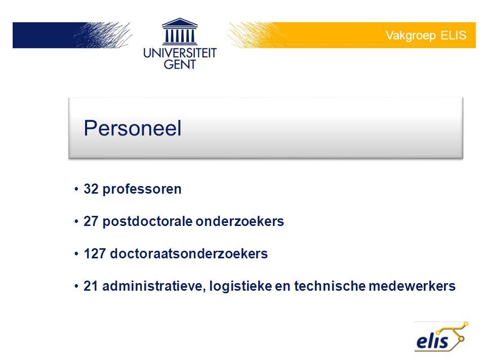 Vakgroep ELIS 32 professoren 27 postdoctorale onderzoekers 127 doctoraatsonderzoekers 21 administratieve, logistieke en technische medewerkers Personeel