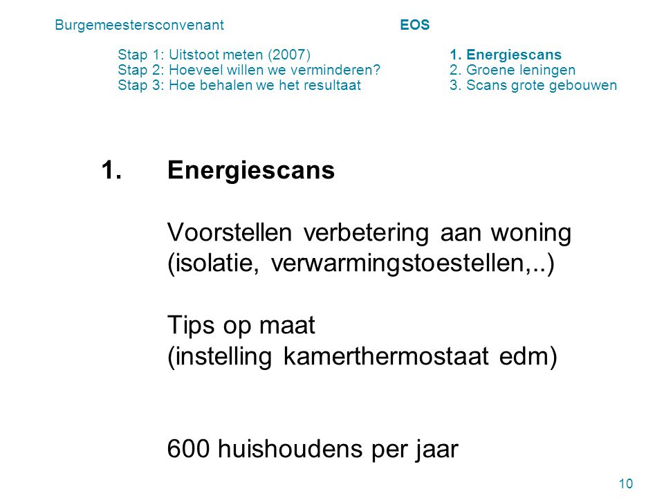 1.Energiescans Voorstellen verbetering aan woning (isolatie, verwarmingstoestellen,..) Tips op maat (instelling kamerthermostaat edm) 600 huishoudens per jaar 10 Burgemeestersconvenant EOS Stap 1: Uitstoot meten (2007) 1.