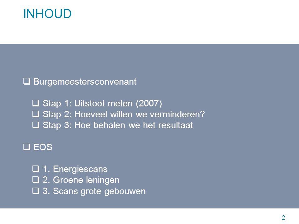 BURGEMEESTERSCONVENANT Oostende beoogt om de 20% CO 2 reductiedoelstelling van de Europese Unie tegen 2020 (tov 1990) te behalen en te overtreffen In 2010 ondertekende de burgemeester van Oostende het Burgemeestersconvenant (gelanceerd door Europese Commissie) 3 Burgemeestersconvenant EOS Stap 1: Uitstoot meten (2007) 1.