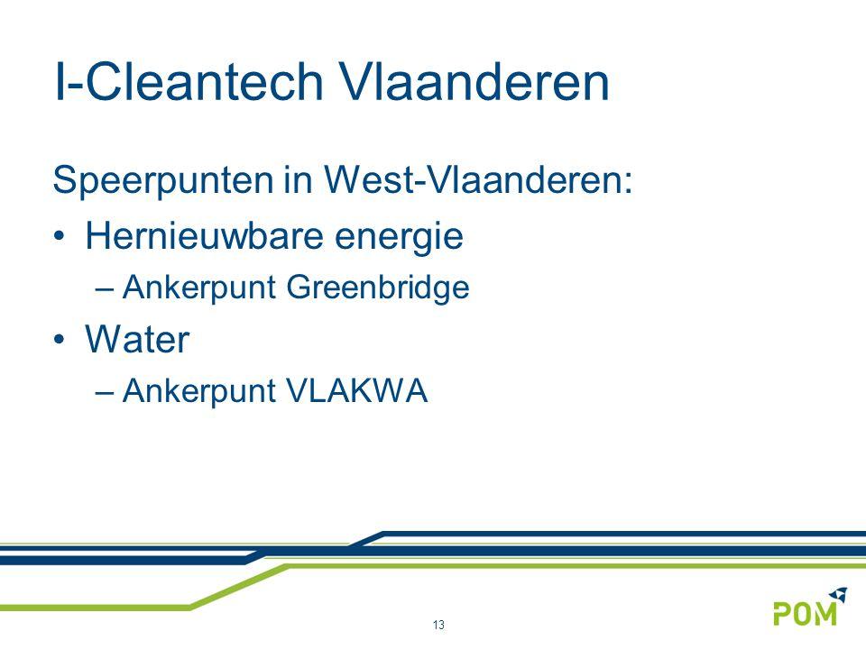 I-Cleantech Vlaanderen Speerpunten in West-Vlaanderen: Hernieuwbare energie –Ankerpunt Greenbridge Water –Ankerpunt VLAKWA 13