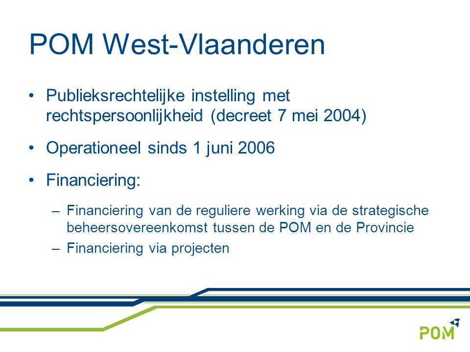 POM West-Vlaanderen Publieksrechtelijke instelling met rechtspersoonlijkheid (decreet 7 mei 2004) Operationeel sinds 1 juni 2006 Financiering: –Financiering van de reguliere werking via de strategische beheersovereenkomst tussen de POM en de Provincie –Financiering via projecten