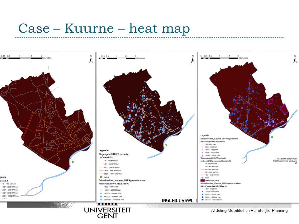 Case – Kuurne – heat map INGENIEURSWETENSCHAPPEN EN ARCHITECTUUR Afdeling Mobiliteit en Ruimtelijke Planning
