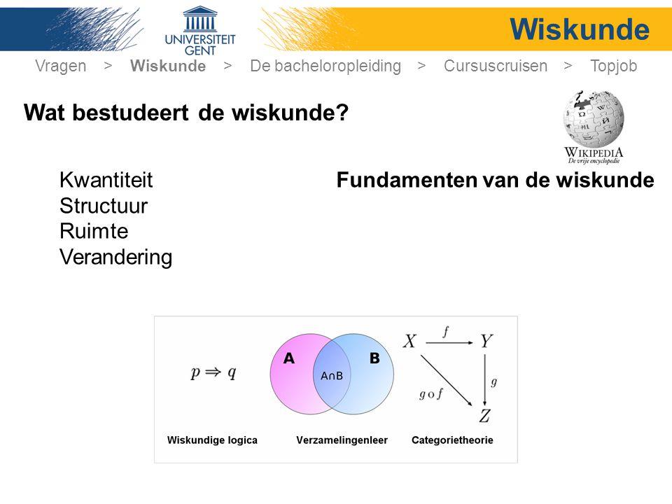 Wiskunde Kwantiteit Structuur Ruimte Verandering Fundamenten van de wiskunde Vragen > Wiskunde > De bacheloropleiding > Cursuscruisen > Topjob Wat bestudeert de wiskunde?
