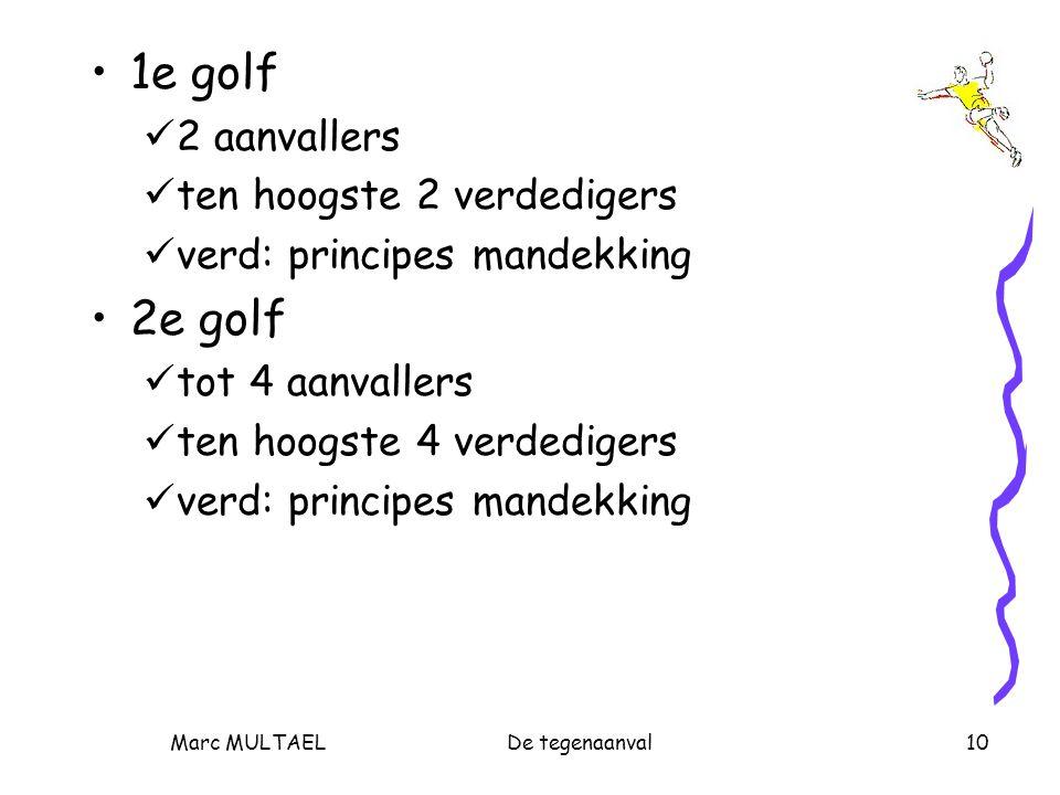 Marc MULTAELDe tegenaanval10 1e golf 2 aanvallers ten hoogste 2 verdedigers verd: principes mandekking 2e golf tot 4 aanvallers ten hoogste 4 verdedig