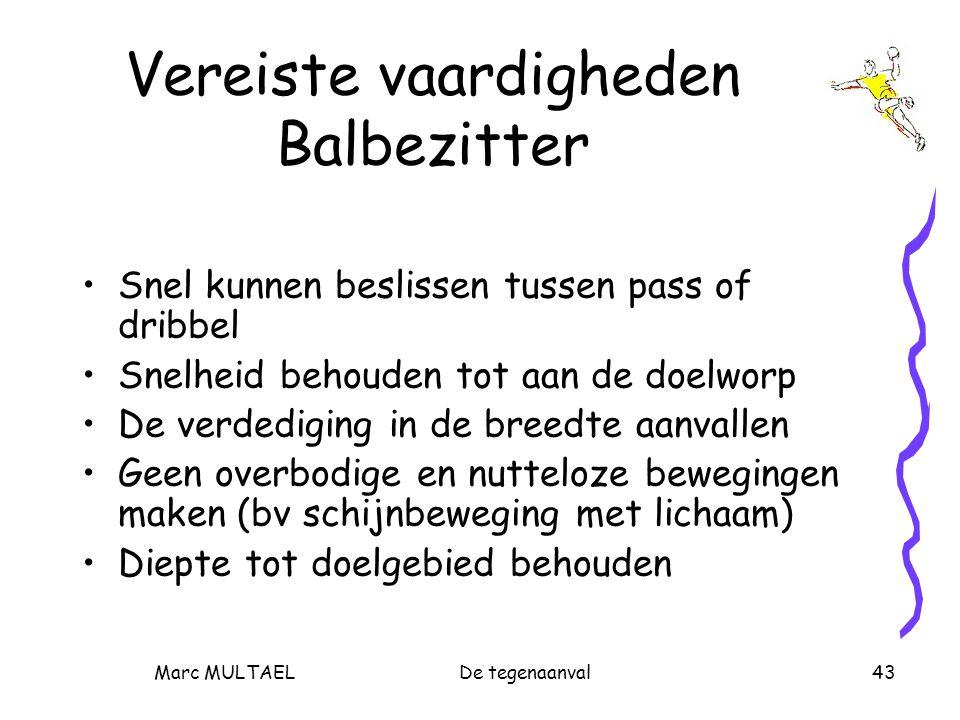 Marc MULTAELDe tegenaanval43 Vereiste vaardigheden Balbezitter Snel kunnen beslissen tussen pass of dribbel Snelheid behouden tot aan de doelworp De verdediging in de breedte aanvallen Geen overbodige en nutteloze bewegingen maken (bv schijnbeweging met lichaam) Diepte tot doelgebied behouden