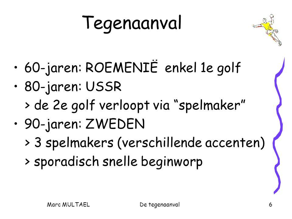 """Marc MULTAELDe tegenaanval6 Tegenaanval 60-jaren: ROEMENIË enkel 1e golf 80-jaren: USSR > de 2e golf verloopt via """"spelmaker"""" 90-jaren: ZWEDEN > 3 spe"""