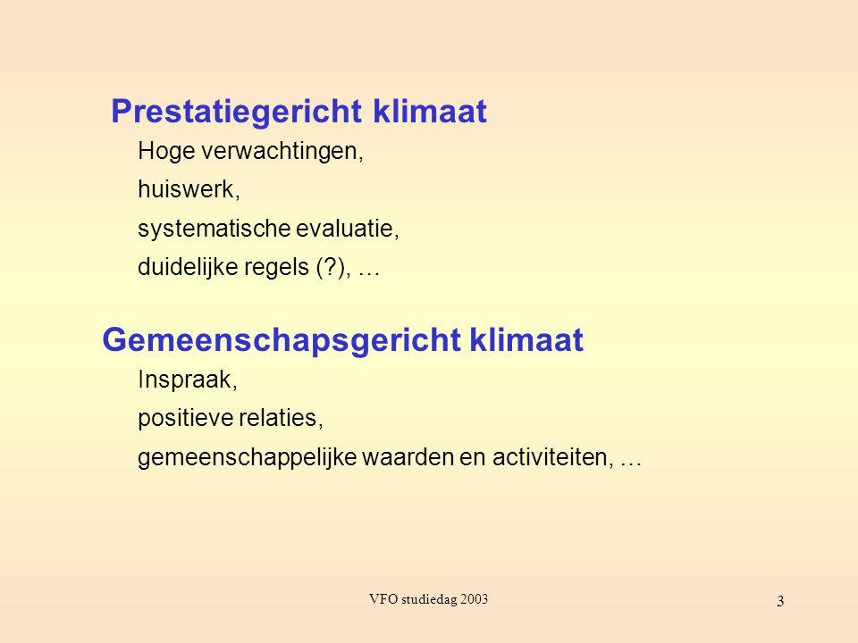 VFO studiedag 2003 3 Prestatiegericht klimaat Gemeenschapsgericht klimaat Hoge verwachtingen, huiswerk, systematische evaluatie, duidelijke regels (?)