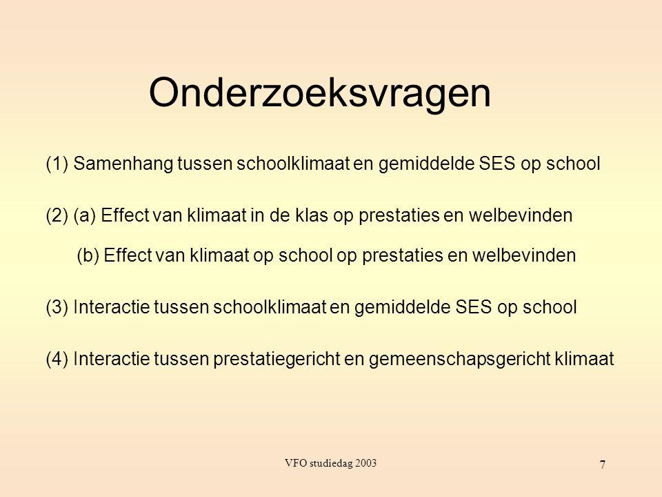 VFO studiedag 2003 7 (1) Samenhang tussen schoolklimaat en gemiddelde SES op school (2) (a) Effect van klimaat in de klas op prestaties en welbevinden